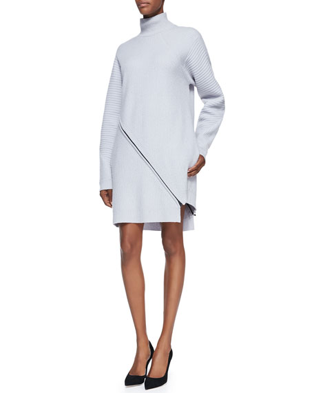 Ribbed Knit Turtleneck Zip Dress