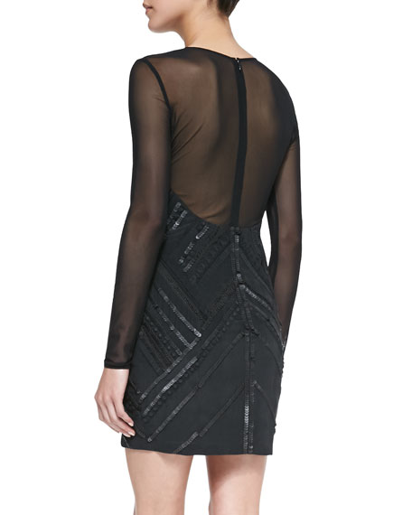 Isabelle Chevron Sequin Dress, Black