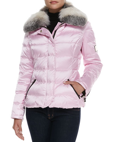 Fox Fur-Collar Apres-Ski Jacket