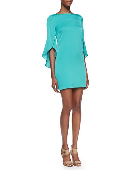 Butterfly-Sleeve Sheath Dress