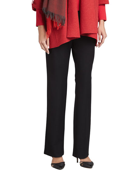 Eileen Fisher Washable Stretch-Crepe Straight-Leg Pants, Black