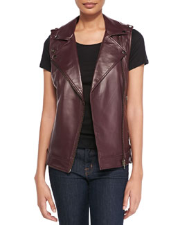 Bagatelle Leather Moto Vest with Belted Hem