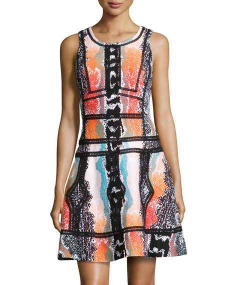 Sleeveless Fit-&-Flare Printed Dress