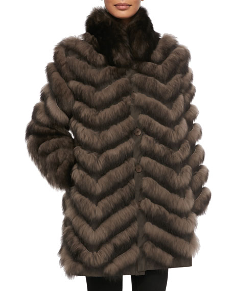 Belle Fare Reversible/Packable Fox Fur Long Coat, Brown