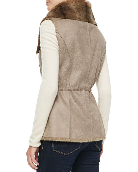 Sueded-Fabric Vest with Faux-Fur Collar