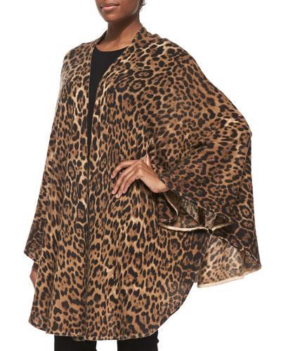 Neiman Marcus Cashmere Leopard Sweater Cape