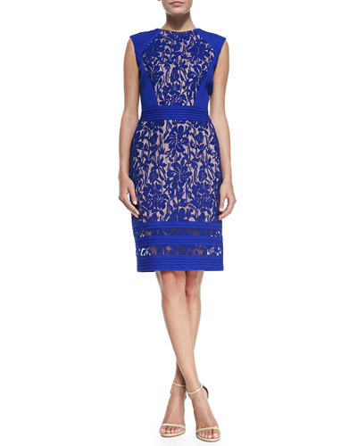 Lace Overlay & Pintuck Cocktail Sheath Dress