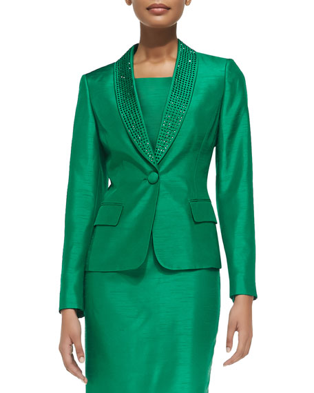 Albert Nipon Bead-Trim Sheath Dress with Jacket