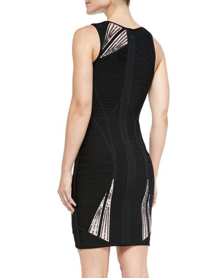 Halle Sequin Sunburst-Pattern Dress