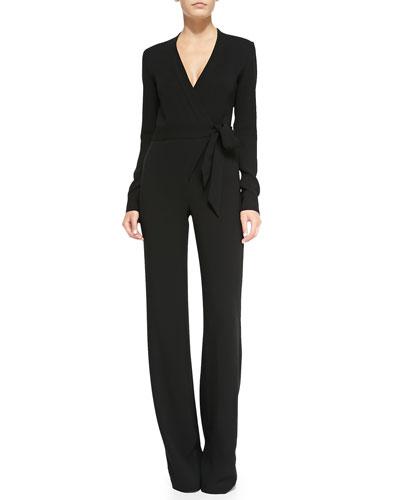 Long-Sleeve Jersey Wrap Jumpsuit