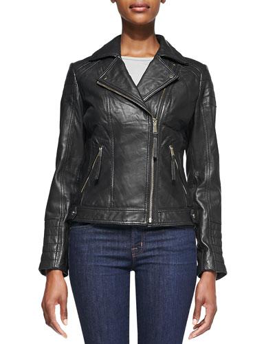 Notched-Collar Trapunto Leather Moto Jacket
