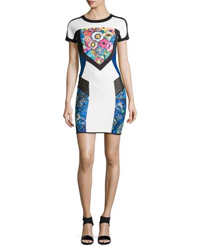 Cap-Sleeve Colorblock Scuba Sheath Dress