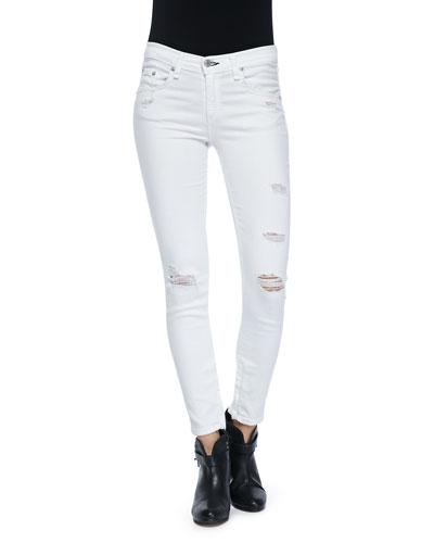 Distressed Cropped Skinny Denim Jeans