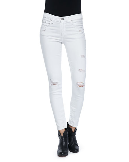 Distressed Cropped Skinny Denim Jeans