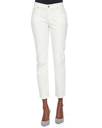 Slim Stretch Ankle Jeans, Ecru
