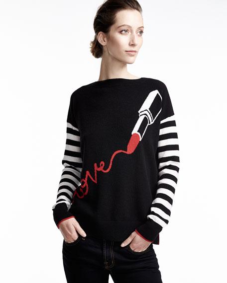 Lipstick Love Striped-Sleeve Sweater