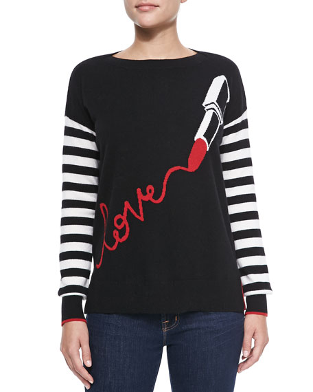Lipstick Love Striped-Sleeve Sweater
