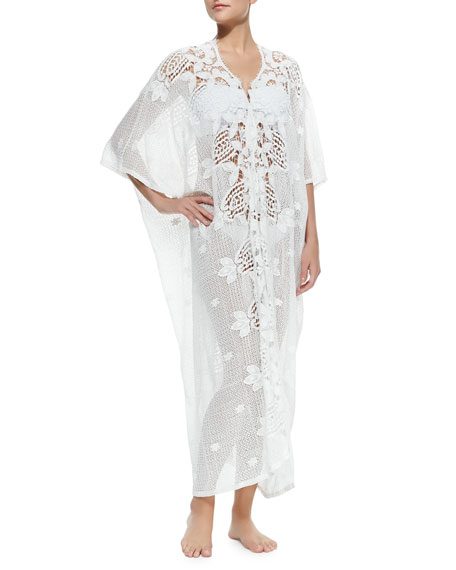 Miguelina Rachel Long Crochet-Panel Caftan, White