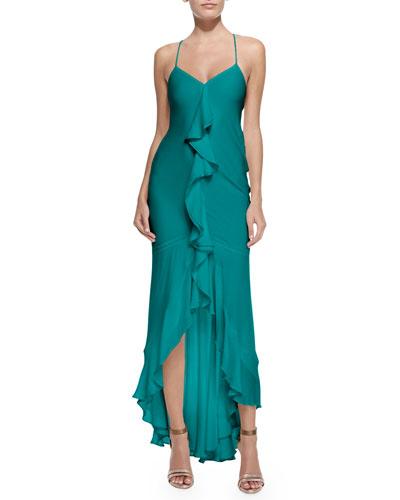 Sleeveless Ruffle-Front Silk Gown