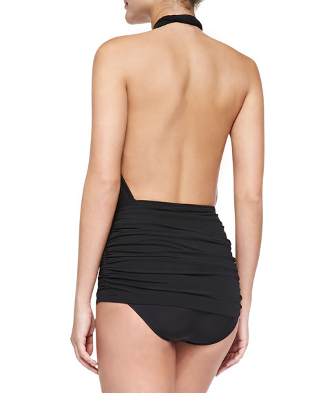 Cross Halter Mio Swimsuit, Black