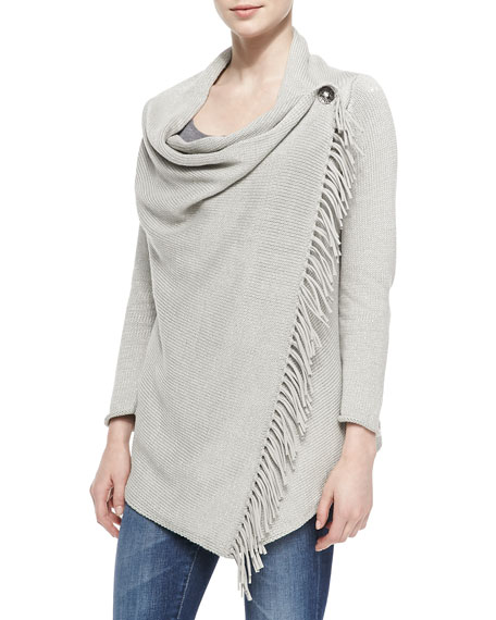 Draped-Neck Cardigan with Cilantro Fringe