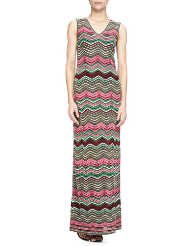 Sleeveless Zigzag Maxi Dress