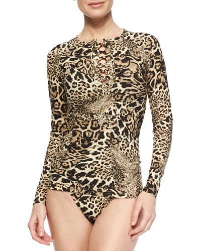 Leopard-Print Lace-Up Rashguard