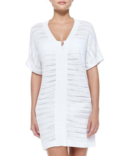 V-Neck Tab Sweater, White