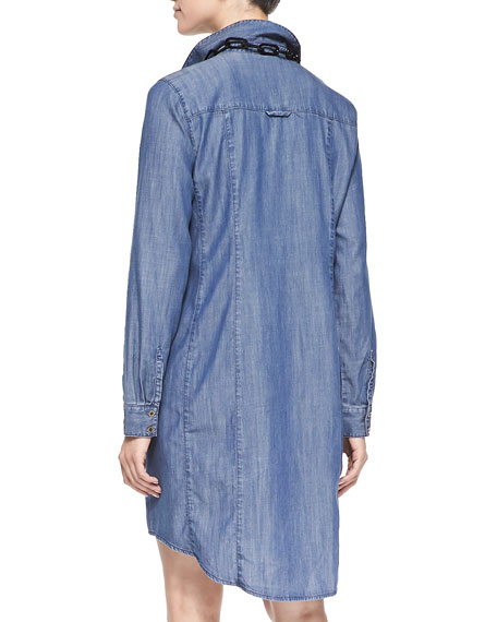 Denim Long-Sleeve Dress with Pockets