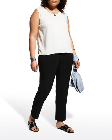 Caroline Rose Stretch-Knit Slim Pants, Black, Plus Size