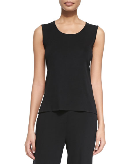 Toula Scoop-Neck Knit Tank, Black, Petite
