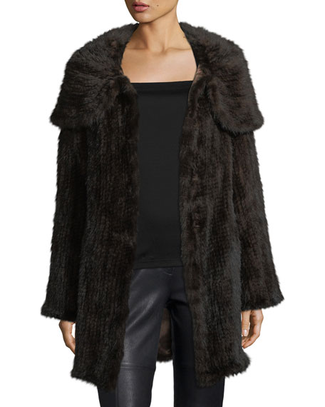 Mink Fur Oversized-Collar Coat