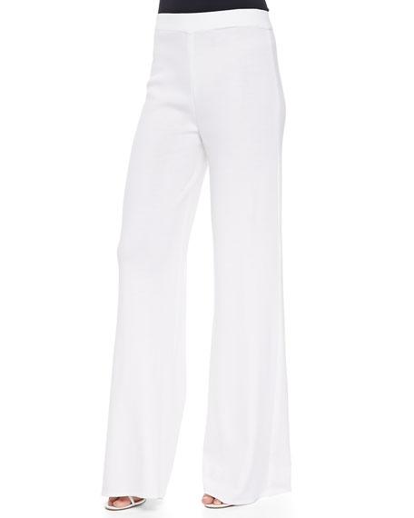 Misook Washable Wide-Leg Pants, White, Petite