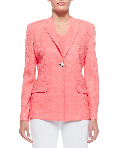 Misook One-Button Jacket, Coral