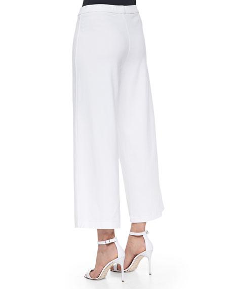 Wide-Leg Interlock Pants, White, Plus Size