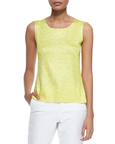 Sweet Thing Crinkle Tank, Lime, Plus Size
