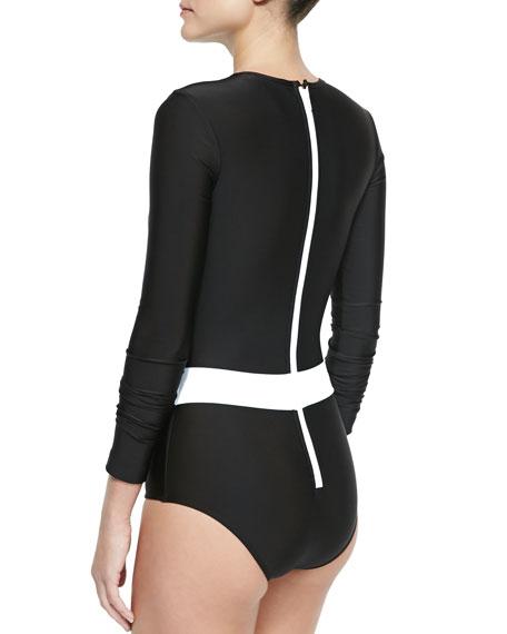 Long-Sleeve One-Piece Swimsuit, Black/White