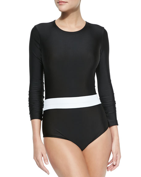 Long-Sleeve One-Piece Swimsuit, Black/White