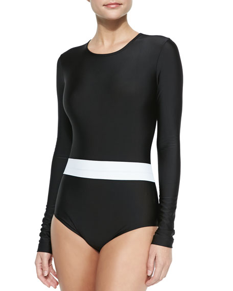 Cover Long-Sleeve One-Piece Swimsuit, Black/White
