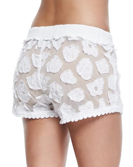 95f7c7b723 Letarte Crochet Coverup Shorts, White