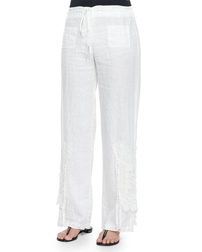 Linen Wide-Leg Crochet Pants, White, Women's