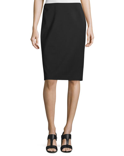 Modern Slim Crepe Skirt  Black  Plus Size