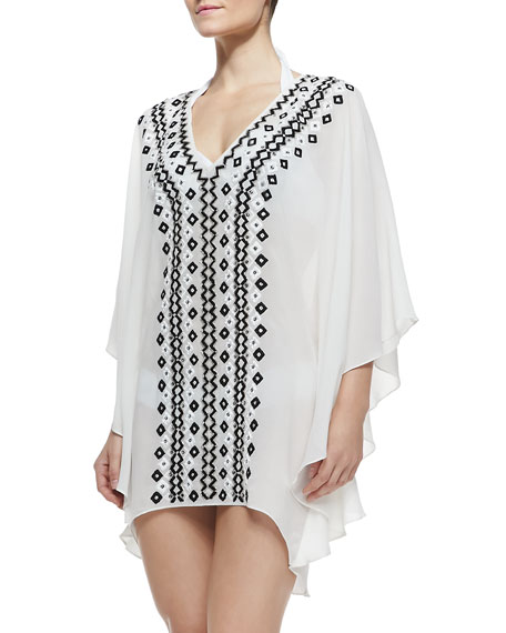 Cordela Embroidered Sheer Silk Coverup