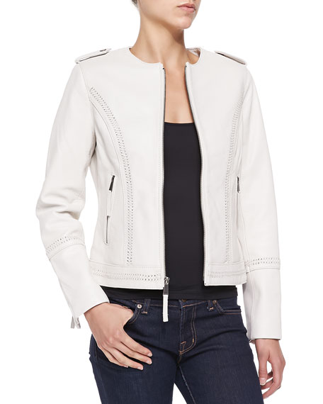 Leather Jacket W/ Lace-Up Stitching