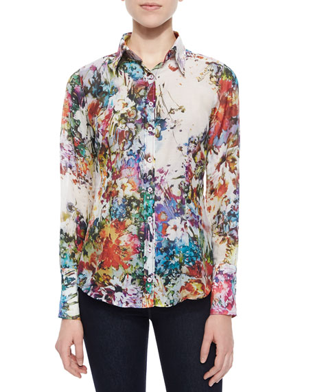 Georg Roth Los Angeles Long-Sleeve Floral-Print Blouse