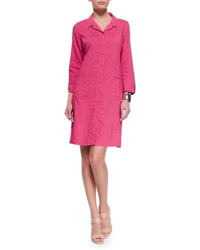Linen Viscose Stretch Shirtdress, Gingerpink, Women's