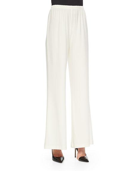 Caroline Rose Stretch-Knit Wide-Leg Pants, White, Plus Size