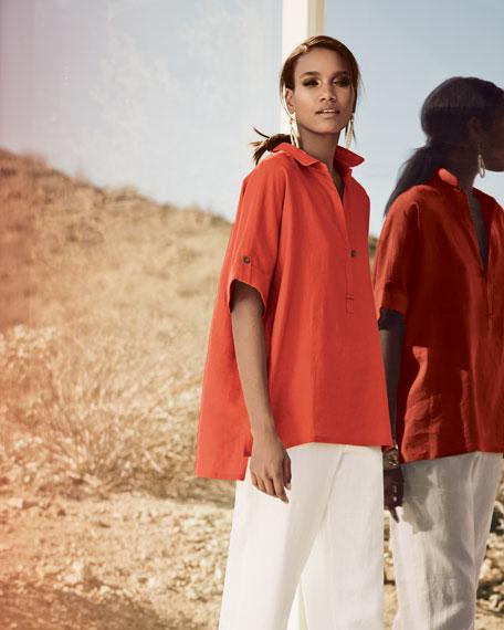 Oversized Short-Sleeve Linen Tunic