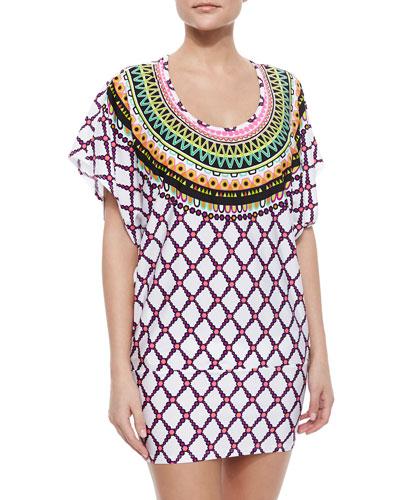 Kon Tiki Embroidered Tie-Waist Tunic