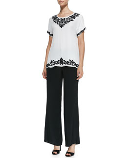 Jewel-Neck Short-Sleeve Jogset
